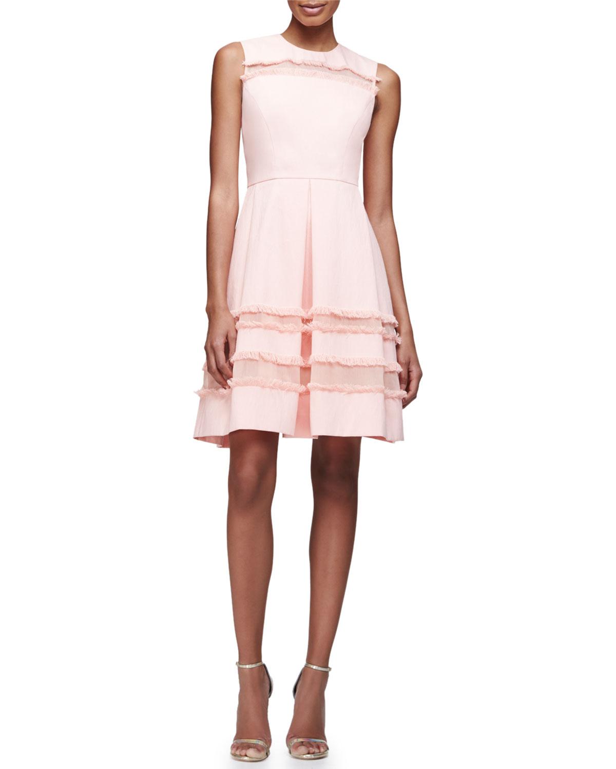 Grace Full-Skirt Fringe-Trim Dress, Blush