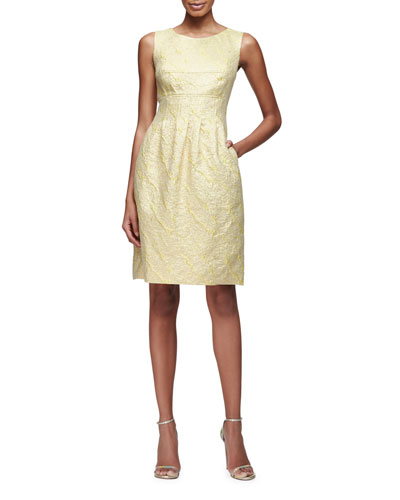 Felicia Classic Sparkle Tweed Sheath Dress, Citrine