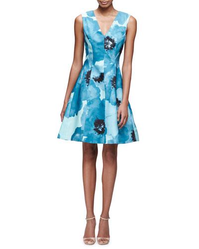Sleeveless Floral-Print A-Line Dress, Blue/Multi