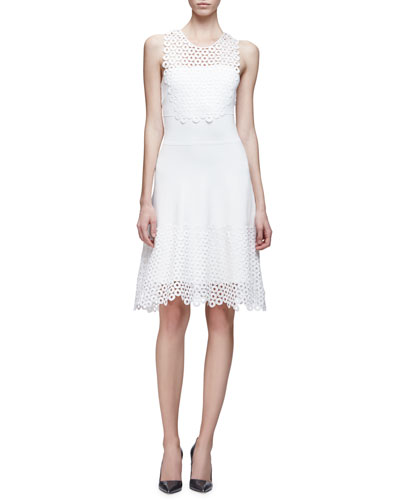 Sleeveless Lace Applique Dress, Ivory