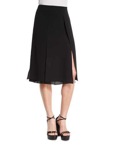 Slashed A-Line Skirt, Black