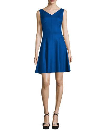 Sleeveless V-Neck Dance Dress, Lapis