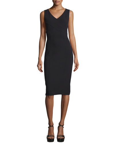 Sleeveless Crossover V-Neck Sheath Dress, Black