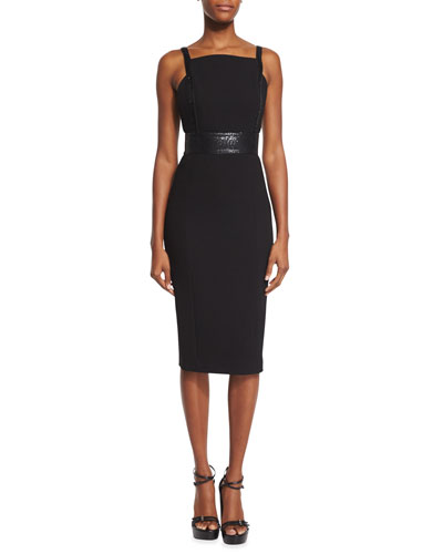 Low-Back Embellished Sheath Dress, Black