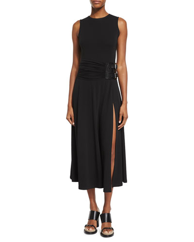 Sleeveless Maxi Slide Dress, Black
