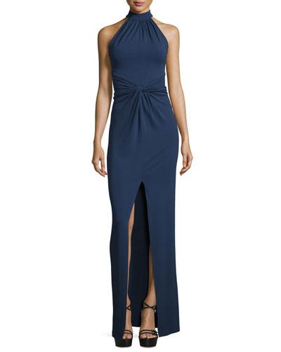 Halter-Neck Front-Twist Gown, Indigo
