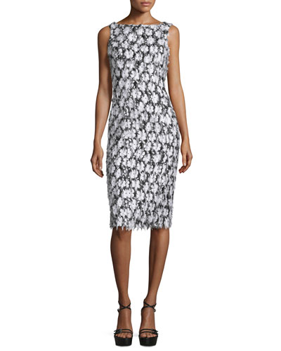 Sleeveless Floral-Embellished Sheath Dress, Black/Optic White