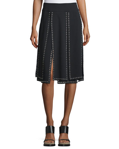 Grommet-Embellished Carwash Skirt, Black
