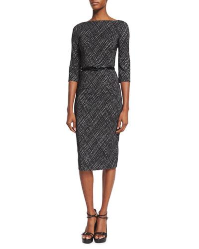 3/4-Sleeve Belted Sheath Dress, Black/Optic White
