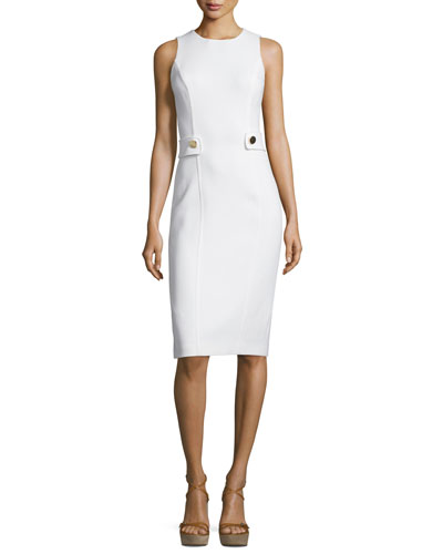 Sleeveless Button-Waist Sheath Dress, White