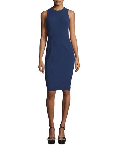 Sleeveless Jewel-Neck Sheath Dress, Indigo