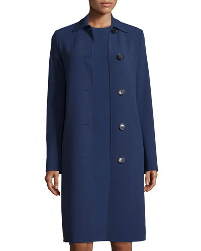 Long-Sleeve Button-Front Reefer Coat, Indigo