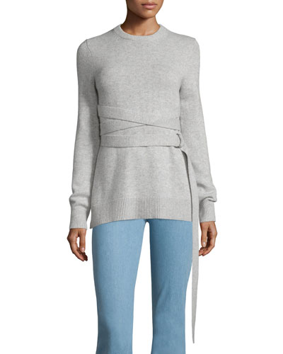 Wrap-Belt Cashmere Sweater, Gray