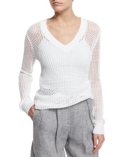 Long-Sleeve V-Neck Linen Mesh Sweater, White
