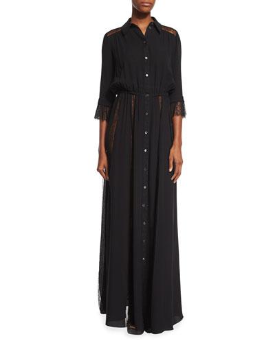 Lace-Inset Button-Front Gown, Black
