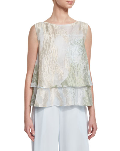 Layered Sleeveless Blouse, Aqua