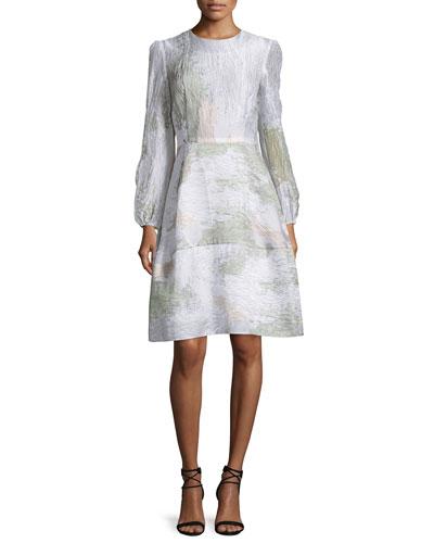 Bishop-Sleeve Printed Dress, Aqua