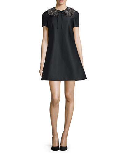 Embellished Short-Sleeve Dress, Black