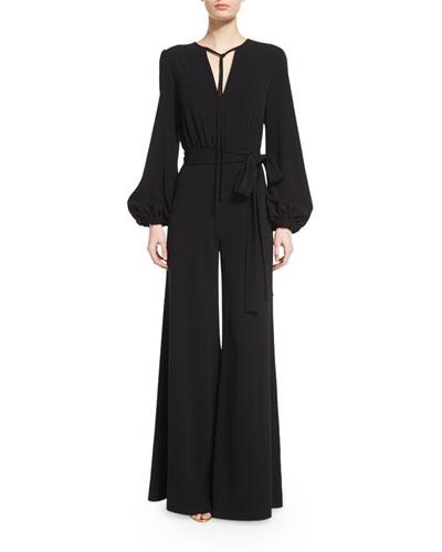 Bishop-Sleeve Flare-Leg Jumpsuit, Black