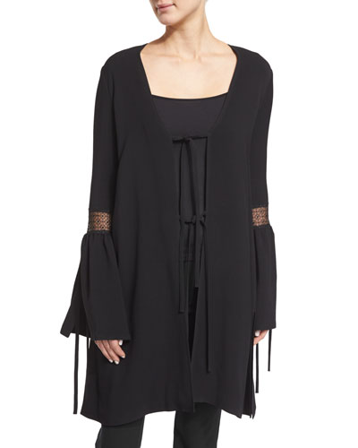 Fluted-Sleeve Tie-Front Jacket, Black