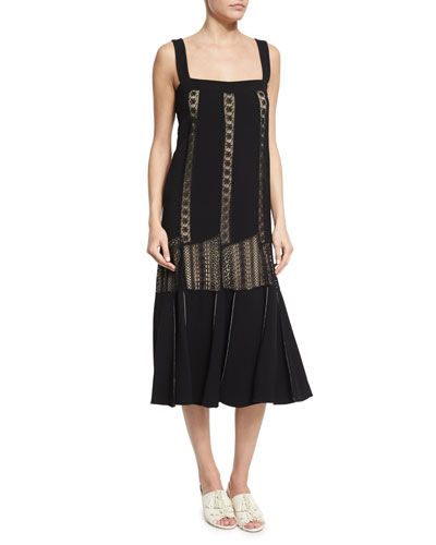 Sleeveless Embroidered-Lace Midi Dress, Black