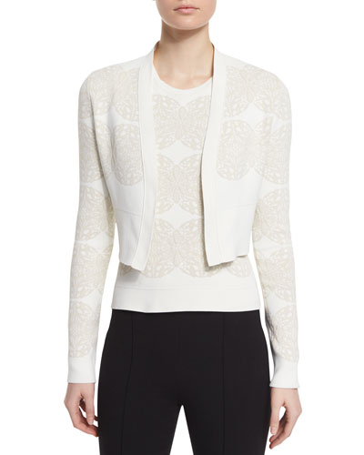 Long-Sleeve Medallion Cropped Cardigan, Ivory/Multi
