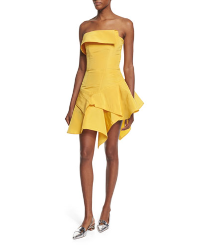 Strapless Silk Faille Cocktail Dress, Yellow