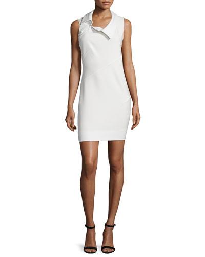 Sleeveless Asymmetric-Neck Sheath Dress, Ivory