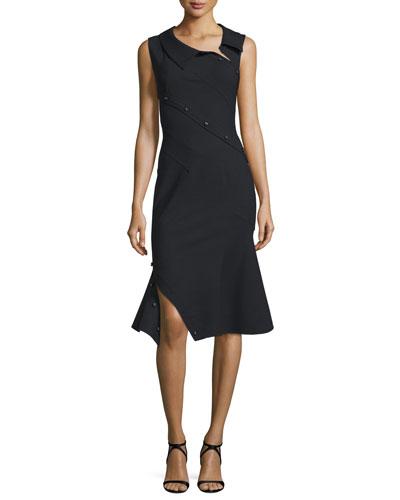 Sleeveless Asymmetric Fit-&-Flare Dress, Black