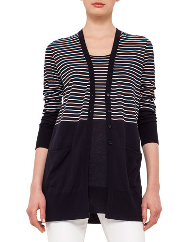 Half-Striped Knit Cardigan, Navy/Cream