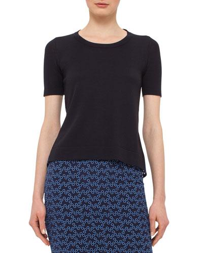 Short-Sleeve Eyelet-Back Pullover, Indigo/Denim
