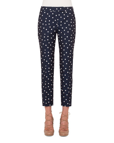 Frankie Polka-Dot Slim-Leg Cropped Pants, Navy/Cream