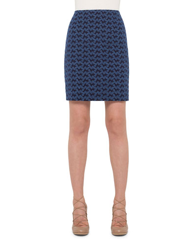 High-Waist Eyelet Pencil Skirt, Indigo/Denim