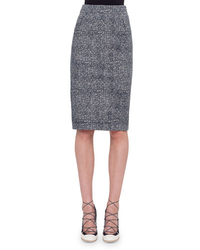 High-Waist Darted Tweed Pencil Skirt, Navy/Cream