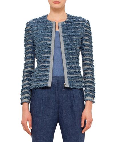 Denim-Fringe Zip-Front Jacket, Bleached Denim