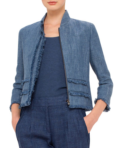 3/4-Sleeve Fringe-Trim Jacket, Bleached Denim