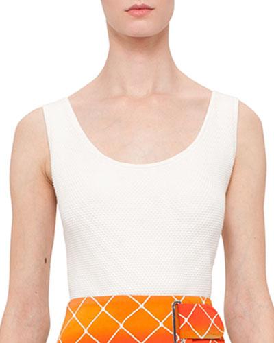 Honeycomb-Knit Scoop-Neck Tank Top, Cream