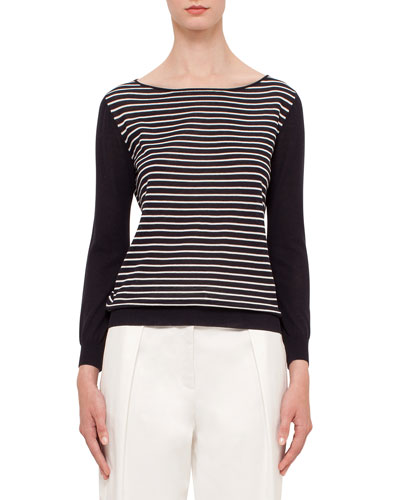 Long-Sleeve Striped Pullover Top, Navy