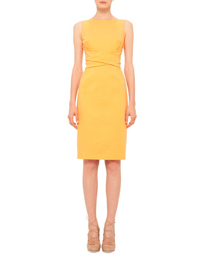 Cross-Waist Knit Sheath Dress, Tangerine
