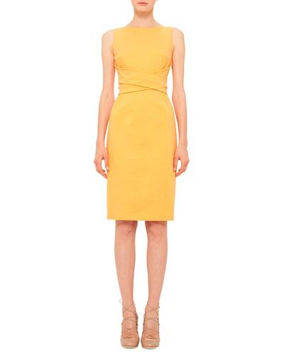 Cross-Waist Knit Sheath Dress, Tangerine