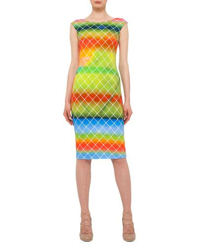 Baseball-Net Striped Sheath Dress, Multi Colors
