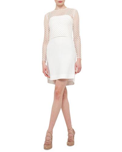 Long-Sleeve Jersey T-Shirt Dress, Cream