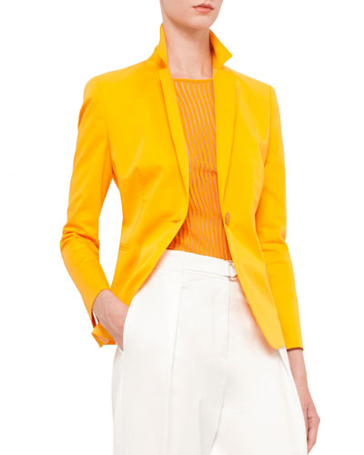 Long-Sleeve One-Button Blazer, Tangerine