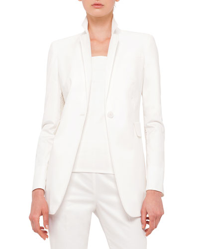 Mesh-Inset Fitted Blazer, Cream