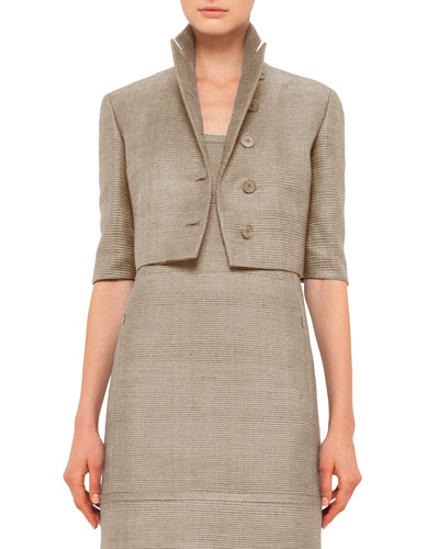 Half-Sleeve Button-Front Cropped Jacket, Cord