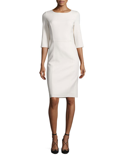 3/4-Sleeve Round-Neck Sheath Dress, White