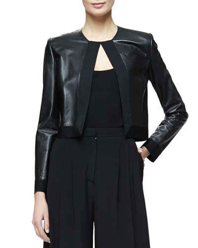 Grosgrain-Trim Cropped Leather Jacket, Black