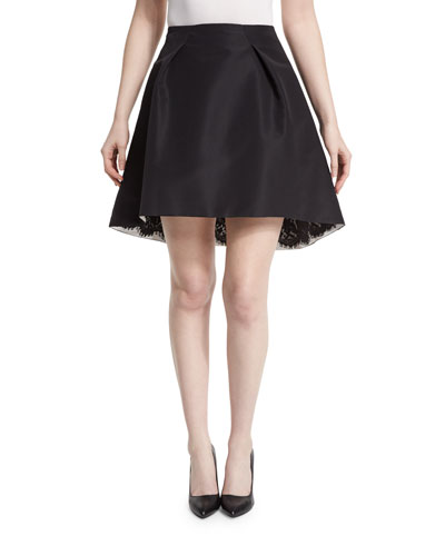 Pleated-Front Lace-Trim Skirt, Black