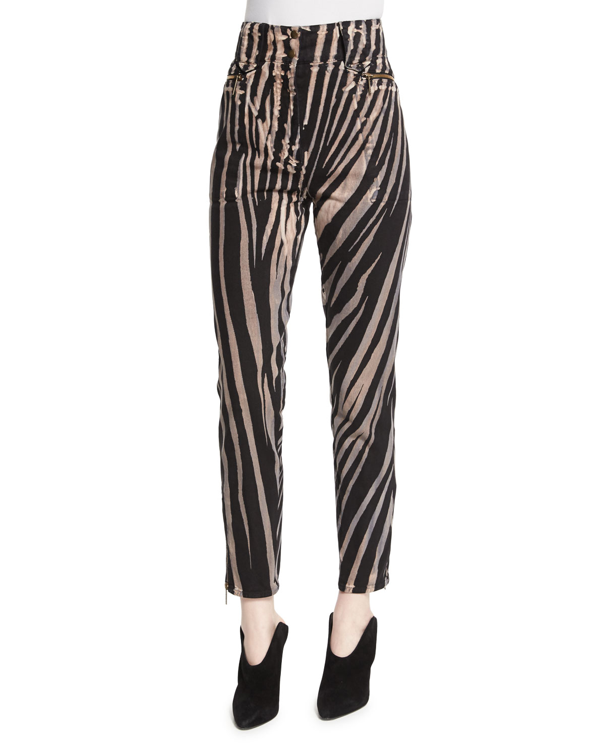 High-Waist Zebra-Print Ankle Pants, Black Pattern