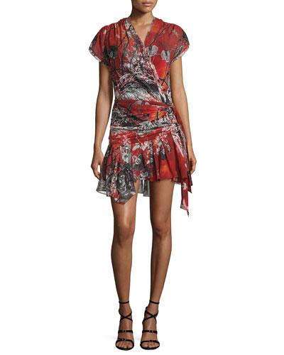Cap-Sleeve Printed Wrap Dress, Red Pattern